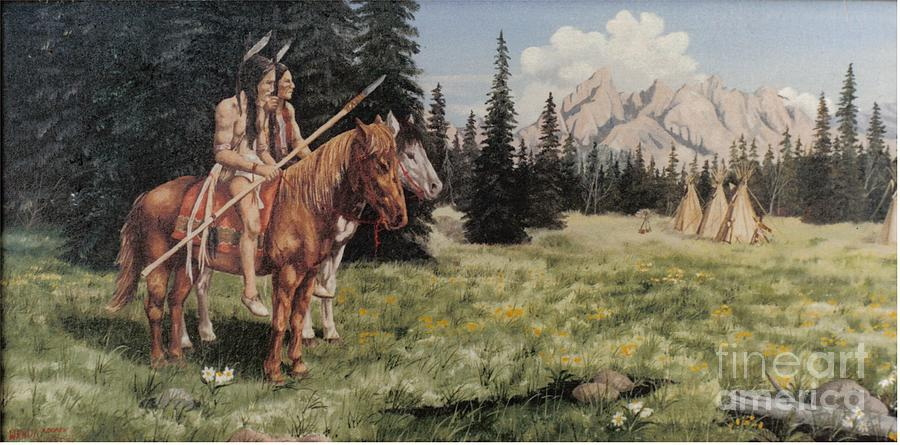 Landscape Painting - The Tetons Early Tribes by Wanda Dansereau