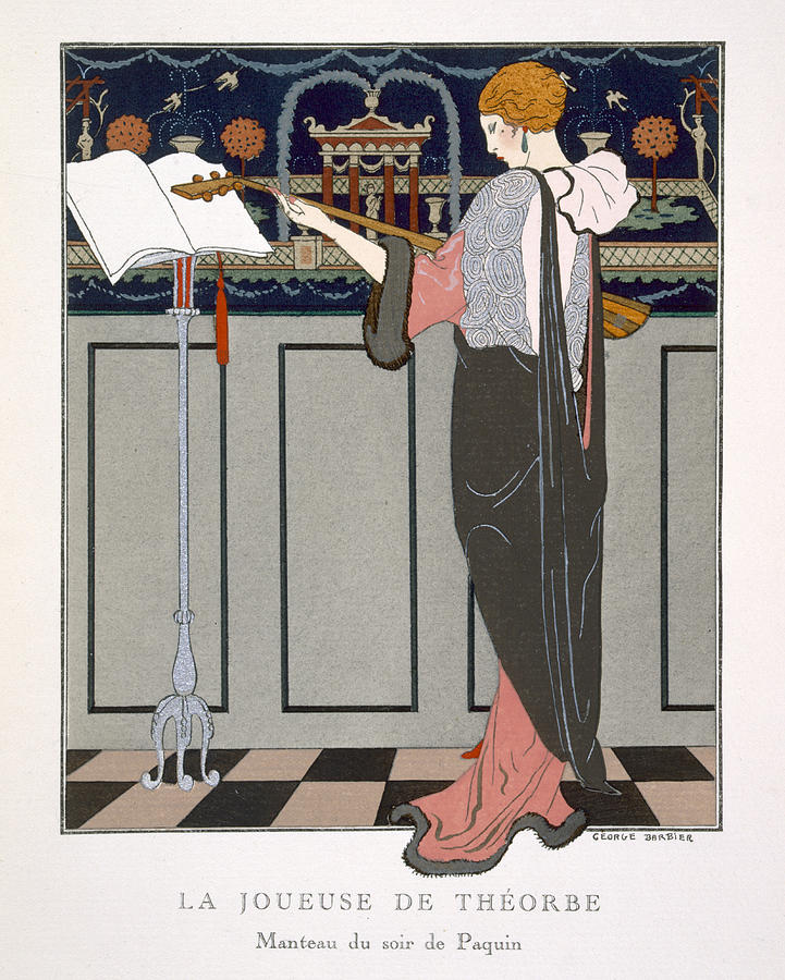 Theorbo Painting - The Theorbo Player by Georges Barbier