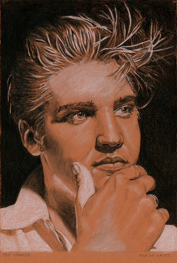 Elvis Drawing - The thinker by Rob De Vries