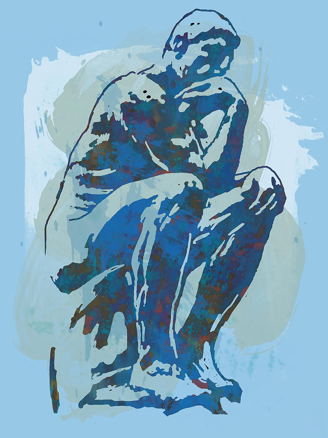 Nude Drawing - The Thinker - Rodin Stylized Pop Art Poster by Kim Wang