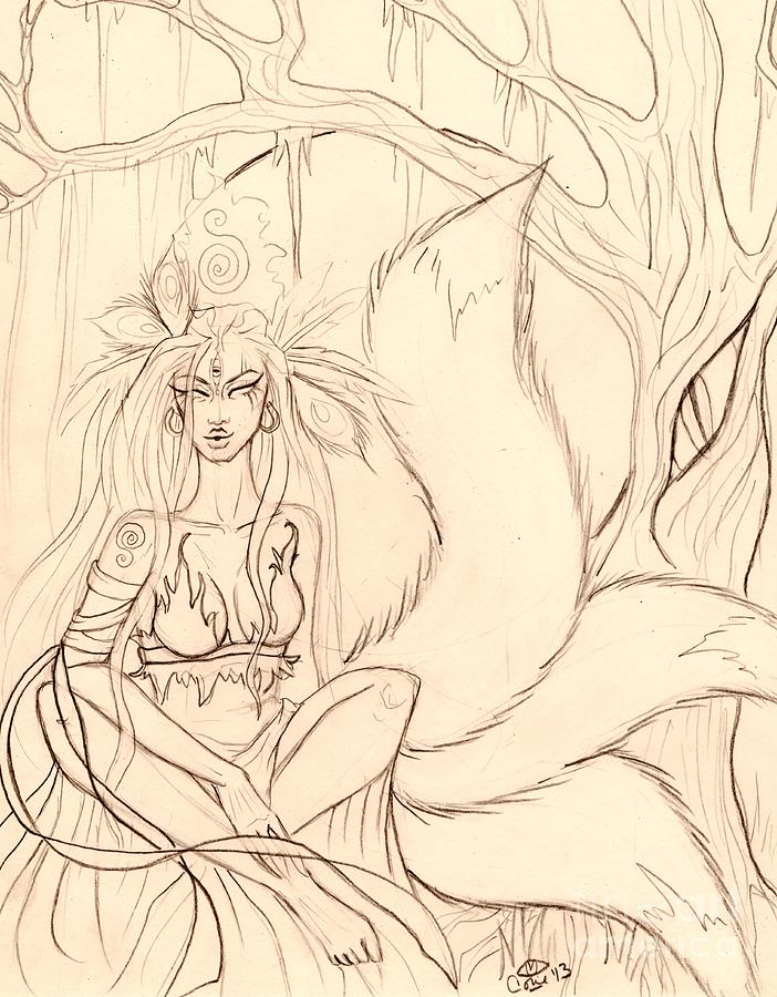 Kitsune Drawing - The Thinking Tree Sketch by Coriander  Shea