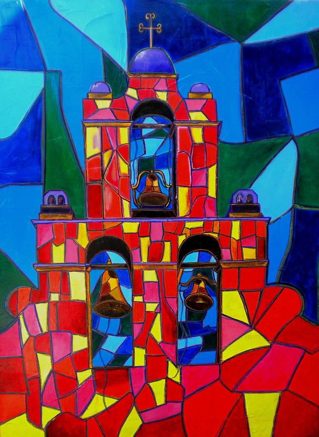 San Jose Mission Painting - The Three Bells Of San Jose Mission by Patti Schermerhorn