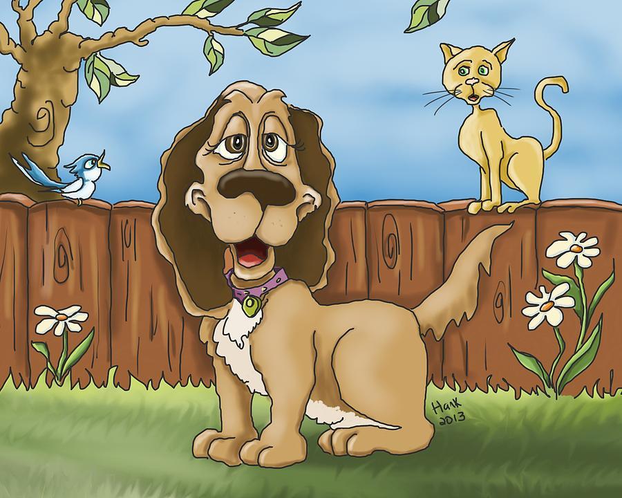 Dog Drawing - The Three Friends by Hank Nunes