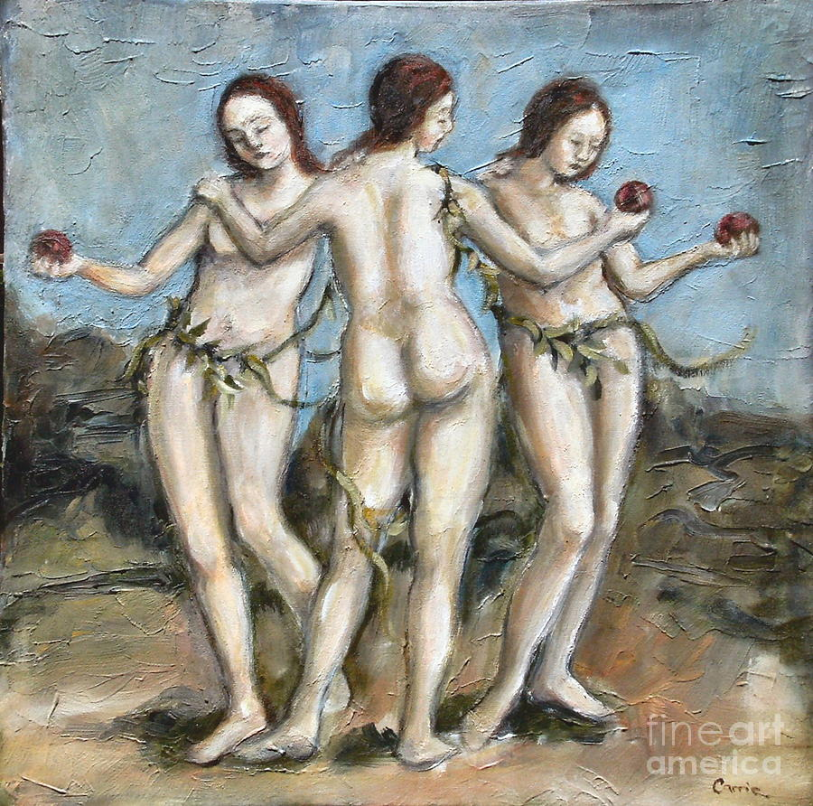 Charities Painting - The Three Graces by Carrie Joy Byrnes