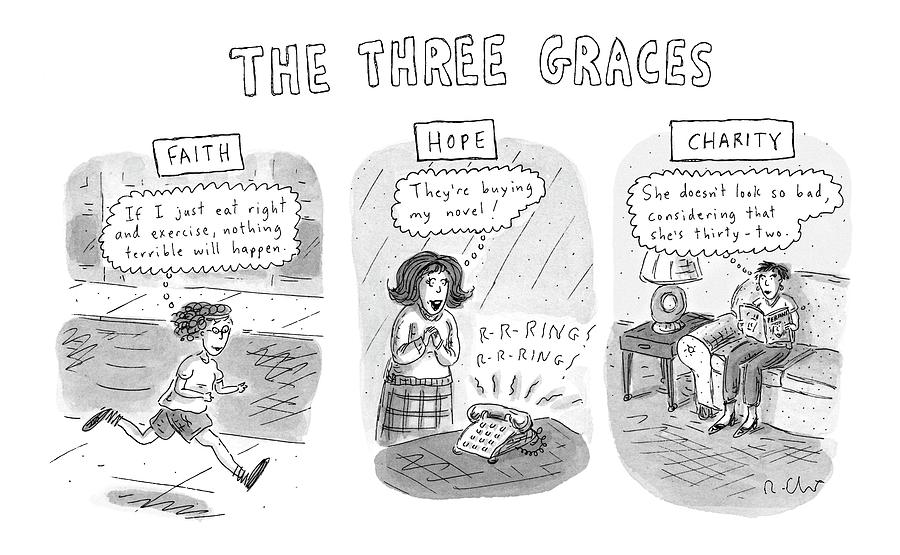 the Three Graces Drawing by Roz Chast