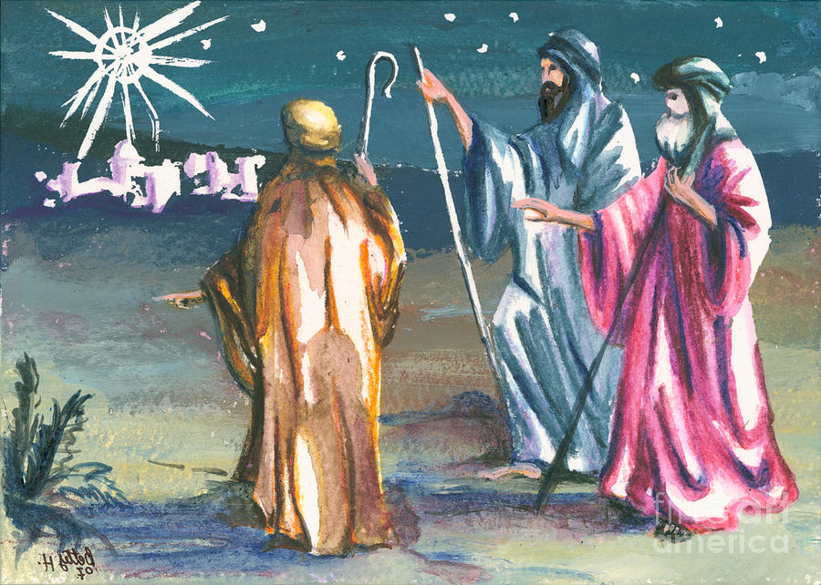 Christmas Greeting Cards Painting - The Three Kings by Elisabeta Hermann