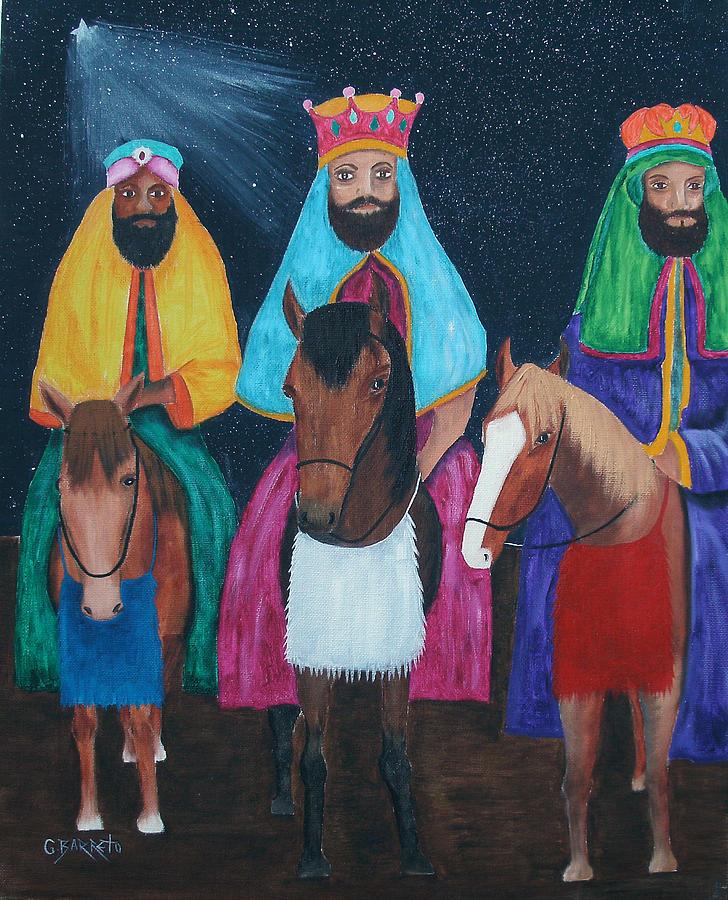 The Three Kings Painting by Gloria E Barreto-Rodriguez