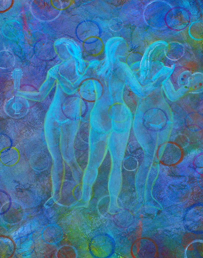 Music Painting - The Three Muses by The Art With A Heart By Charlotte Phillips