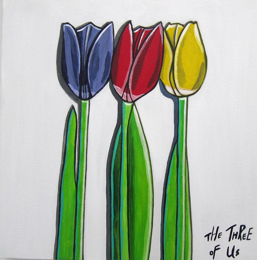 Blue Flower Painting - The Three Of Us by Sandra Marie Adams
