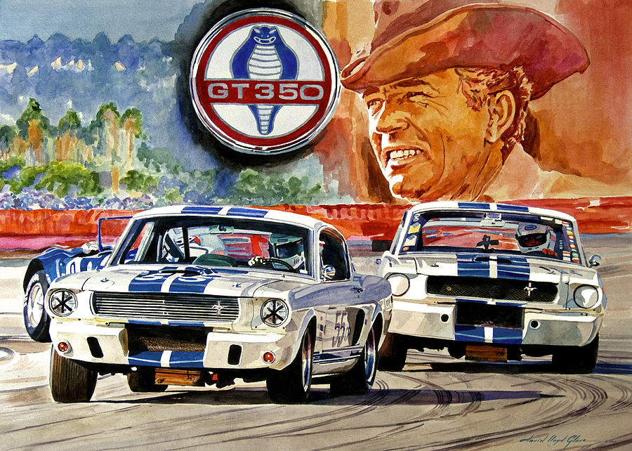 Shelby Artwork Painting - The Thundering Blue Stripe Gt-350 by David Lloyd Glover