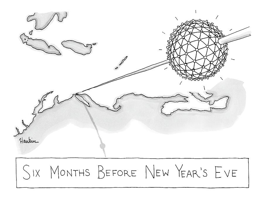 The Times Square Ball Is High Above The Northeast Drawing by Charlie Hankin