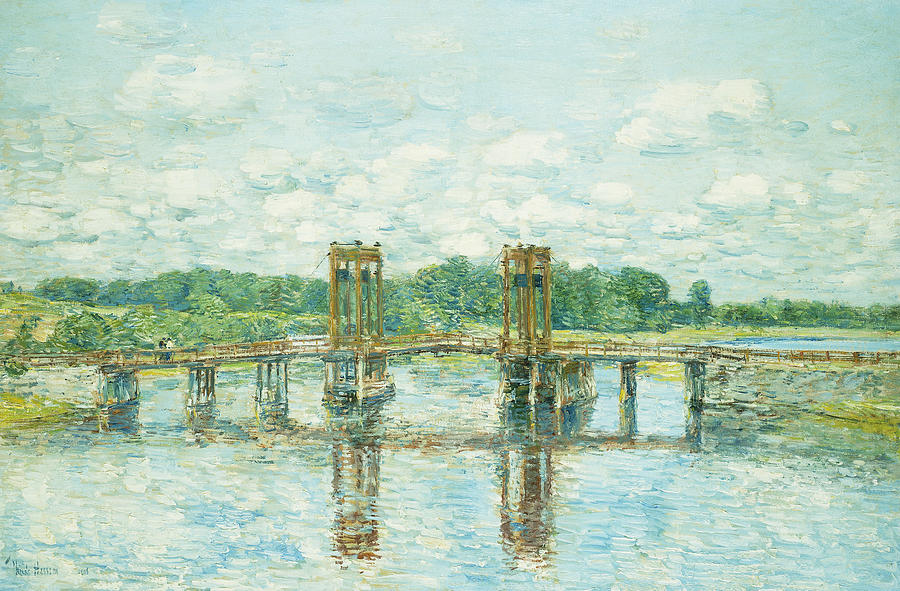 The Toll Bridge New Hampshire Painting by Childe Hassam