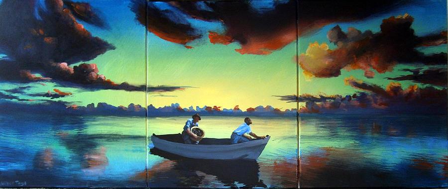 Sunset Painting - The Tom Benton Fising Fleet by Geoff Greene