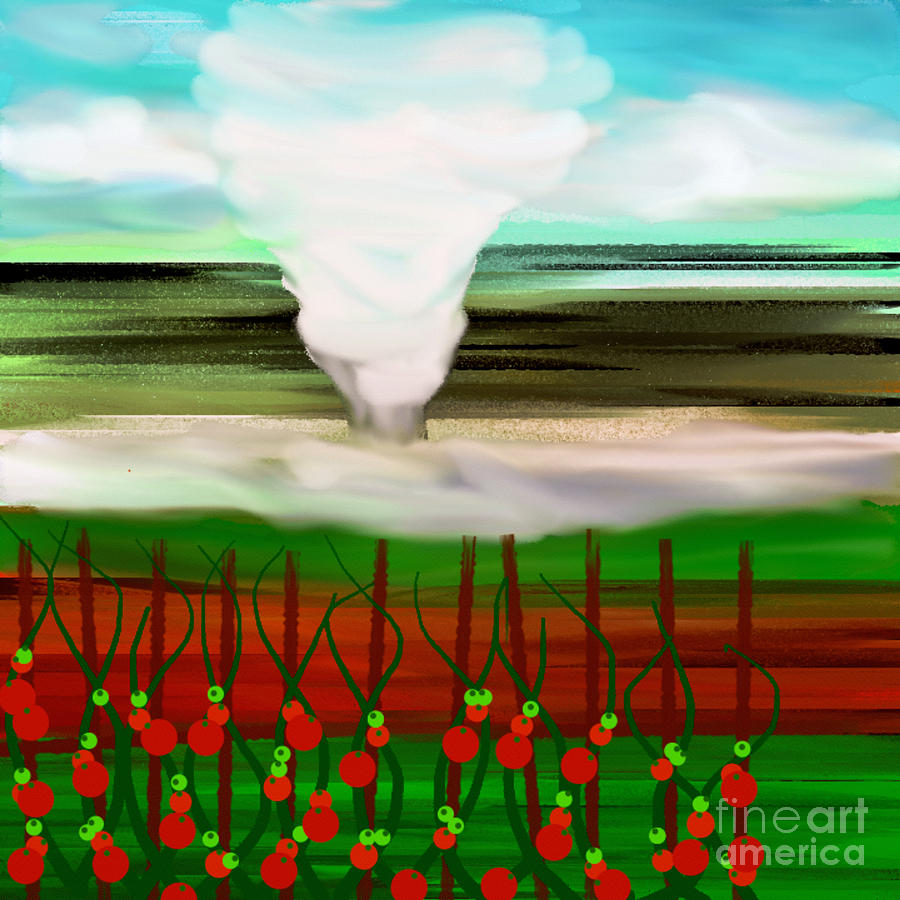 Tornado Digital Art - The Tomatoes And The Tornado by Andee Design
