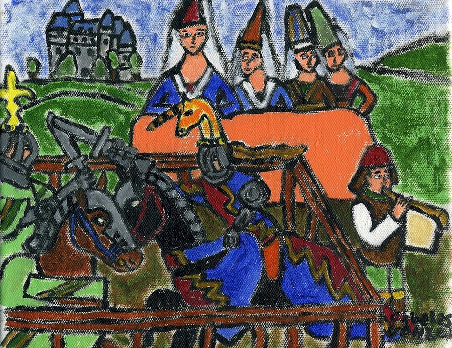 Medieval Tournaments Painting - The Tournament Ladies by Cibeles Gonzalez
