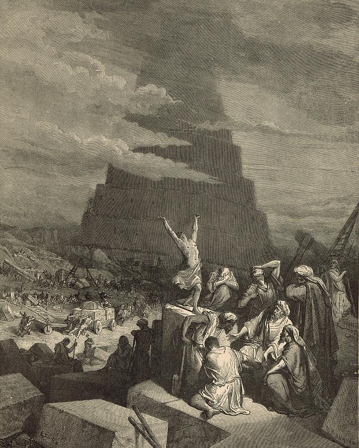 Antique Drawing - The Tower Of Babel by Antique Engravings