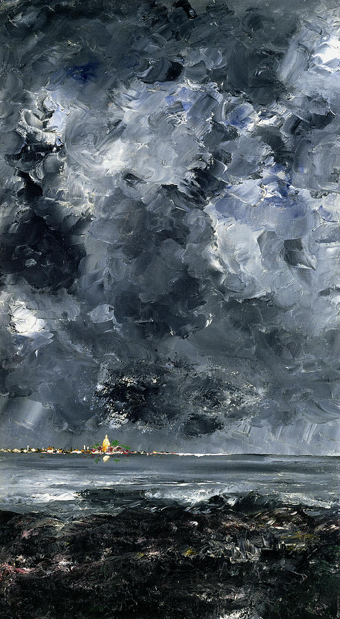 Expressionist; Storm; Sea; Harbour; Port; Stormy; Sky; Cloud Study; Symbolist; Stormy; Skyscape; Dramatic; Nature; Elements; Elemental; Blue; Night; Nocturne; Dark; Glowing; Isolated; Humanity; Culture Painting - The Town by August Johan Strindberg