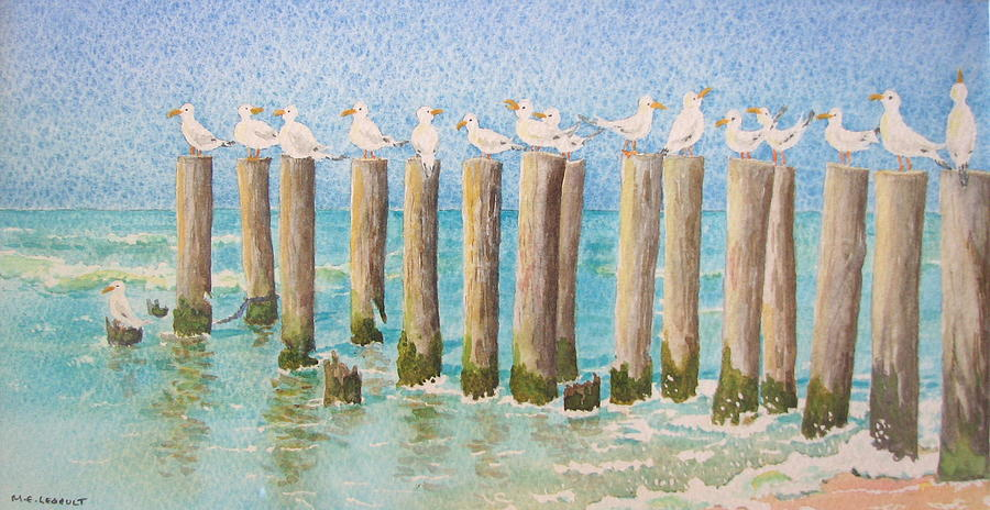 Seagulls Painting - The Town Meeting by Mary Ellen Mueller Legault
