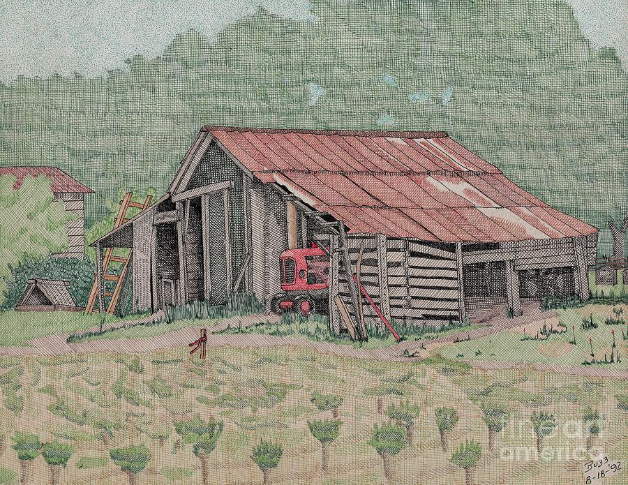 Tracker Drawing - The Tractor Barn by Calvert Koerber