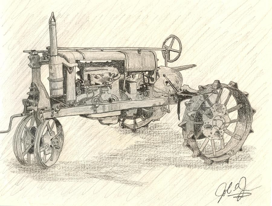 Tractor Drawing - The Tractor by John Jones