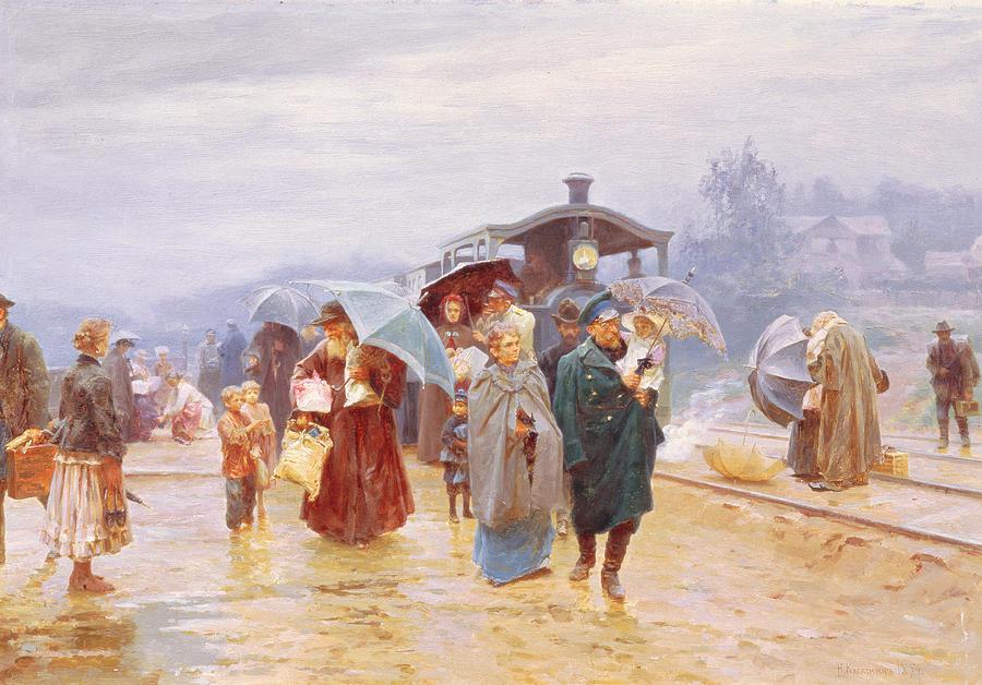 Passengers Painting - The Train Has Arrived, 1894 by Nikolaj Alekseevich Kasatkin