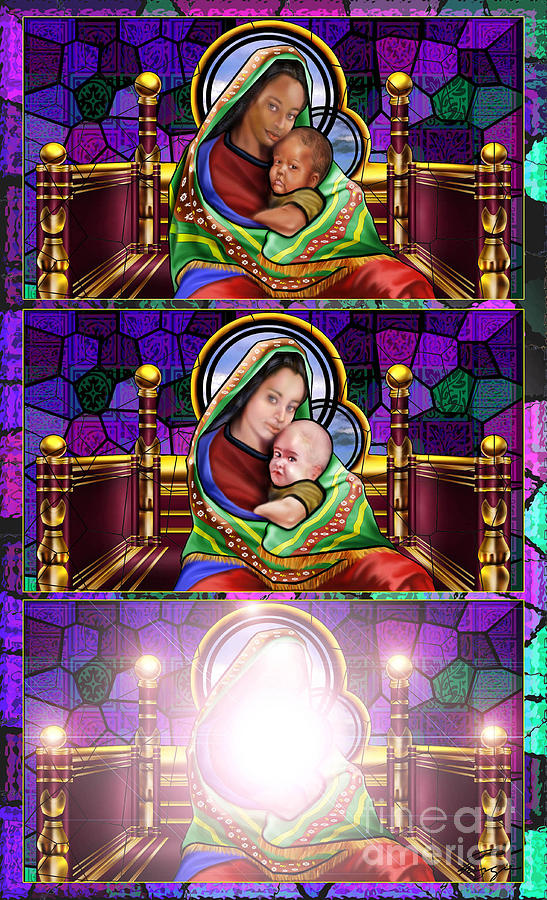 Stain Glass Painting - The Transfiguration Of Madonna And Child  by Reggie Duffie