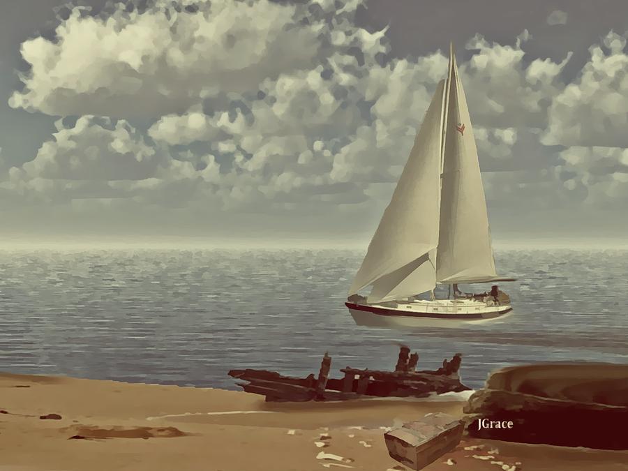 Sailboat Digital Art - The Treasure by Julie Grace