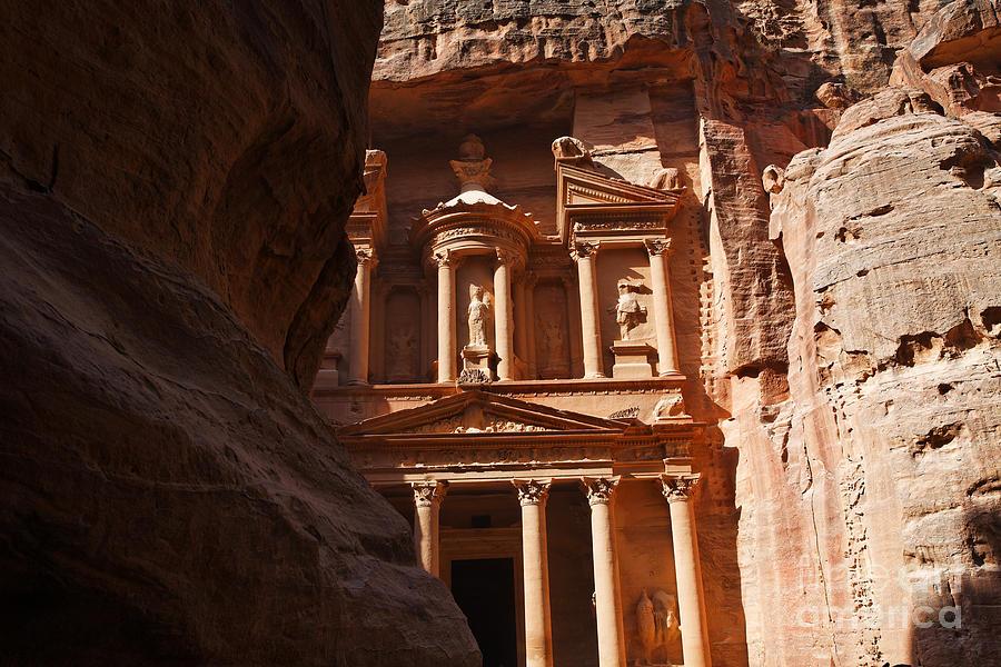 Petra Photograph - The Treasury Seen From From The Siq Petra Jordan by Robert Preston