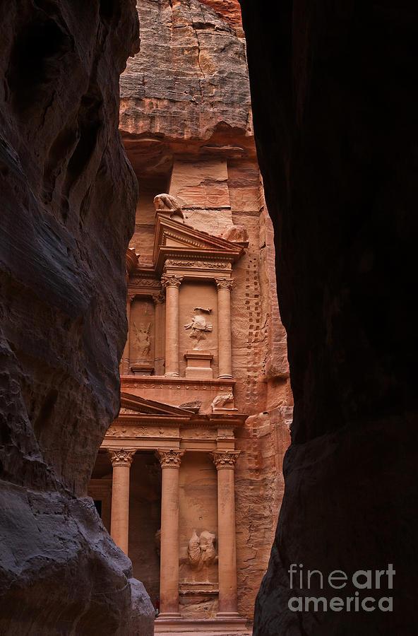 Petra Photograph - The Treasury Seen From The Siq Petra Jordan by Robert Preston