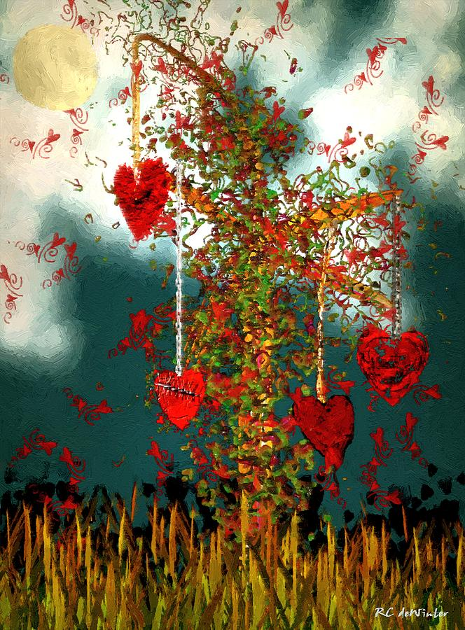 Hearts Painting - The Tree of Hearts by RC DeWinter