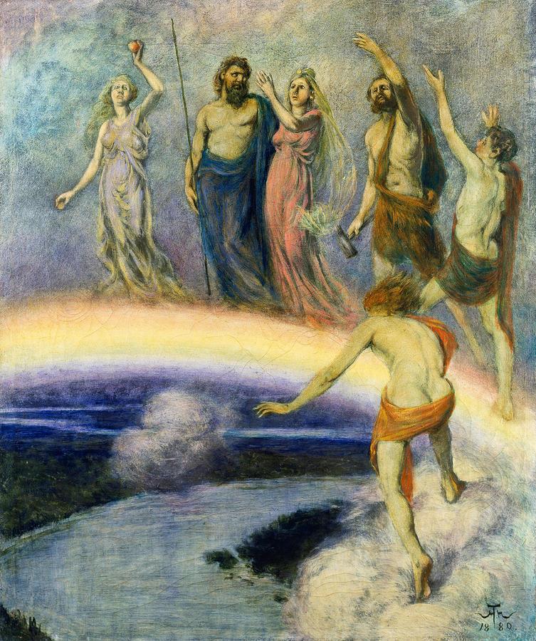 Greek Mythology Painting - The Trek Of The Gods To Valhalla by Hans Thoma
