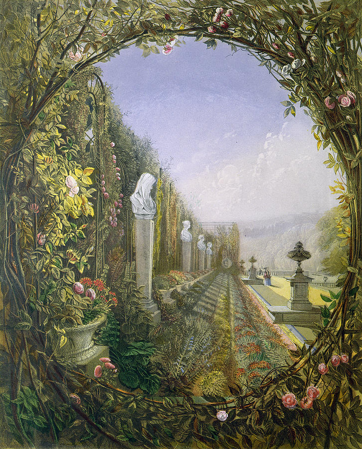 English Garden Painting - The Trellis Window Trengtham Hall Gardens by E Adveno Brooke