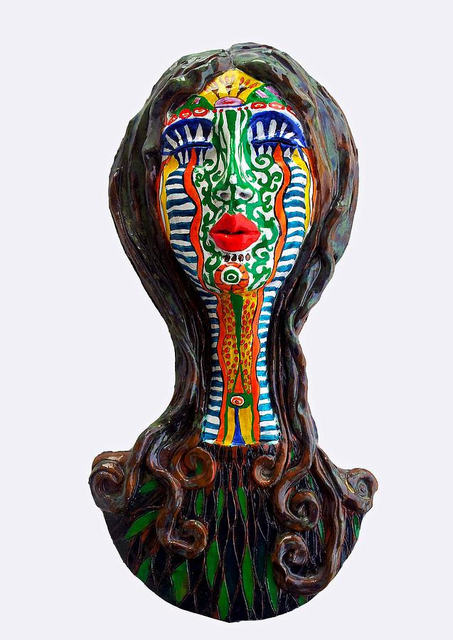 Sculpture Relief - The Tribal Shaman by Agnieszka Parys-Kozak