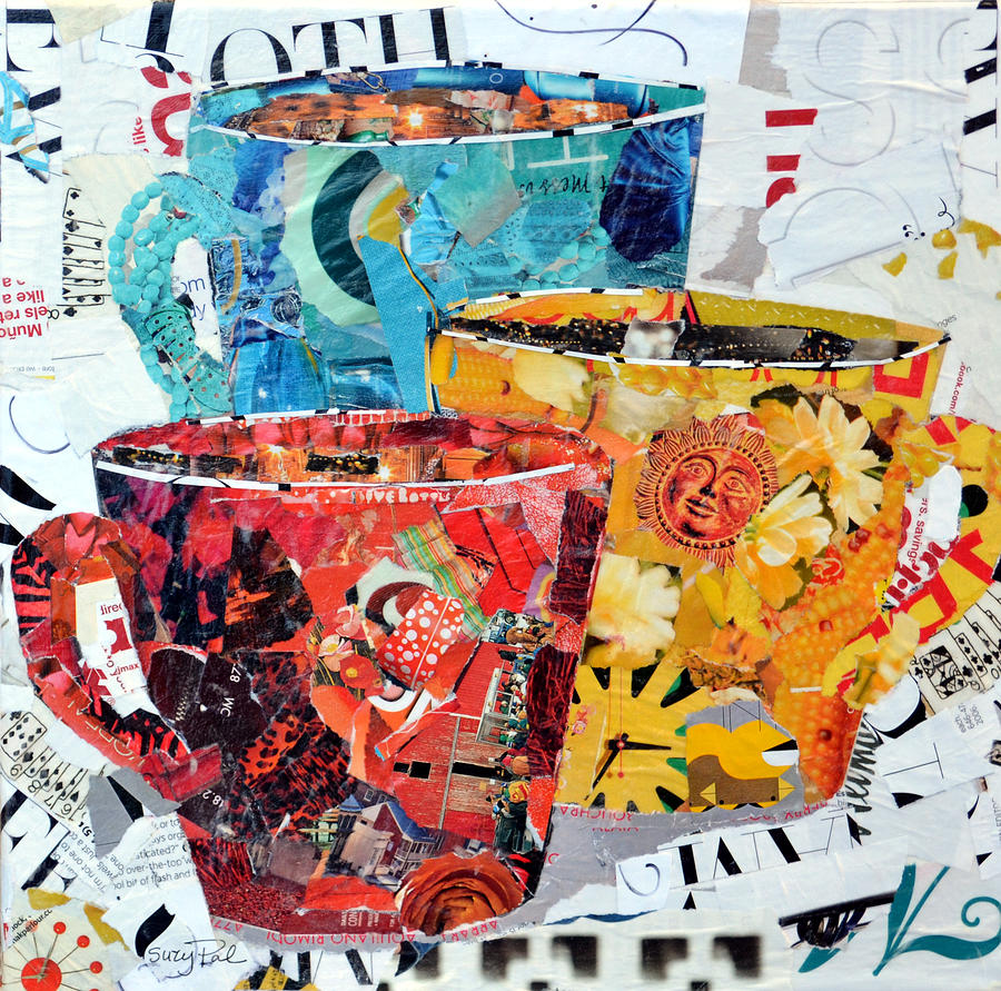 Torn Paper Collage Painting - The Trio by Suzy Pal Powell