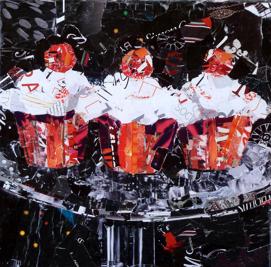 Torn Paper Collage Painting - The Triplets by Suzy Pal Powell