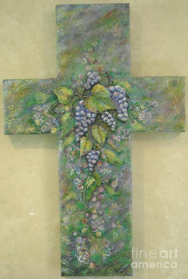 Cross Painting - The True Vine by Sheri Hubbard