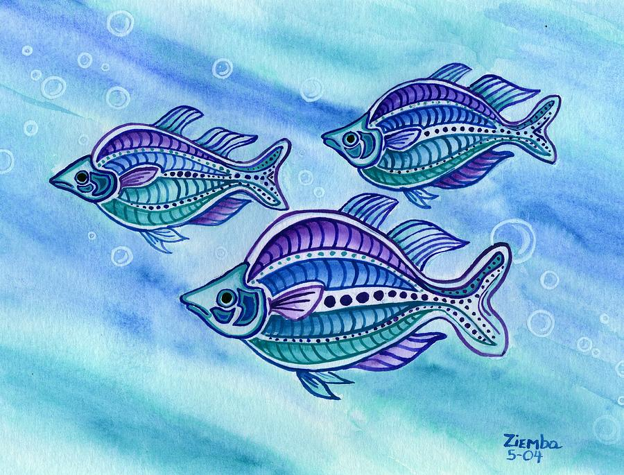 The turquoise rainbow fish painting by lori ziemba for Turquoise rainbow fish