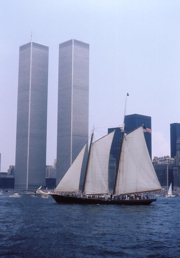 Twin Towers Photograph - The Twin Towers With The Schooner America 4th July 1976 by Terence Fellows