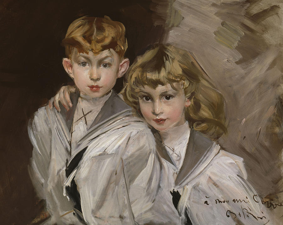 Girl Painting - The Two Children by Giovanni Boldini