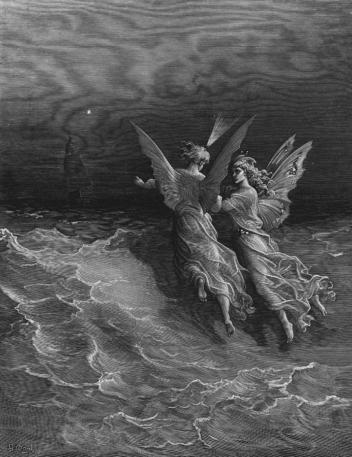 Vessel; Sea; Angels; Dore Drawing - The Two Fellow Spirits Of The Spirit Of The South Pole Ask The Question Why The Ship Travels  by Gustave Dore
