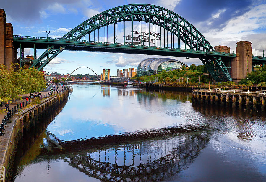 Horizontal Photograph - The Tyne Road Bridge With The Sage by Panoramic Images