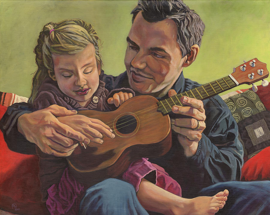 Family Painting - The Ukelele Lesson by Paige Wallis