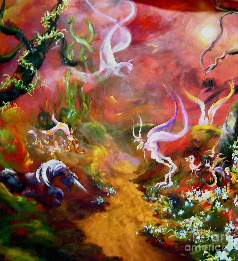 Faeries Painting - The Unicorn by Michelle Dommer