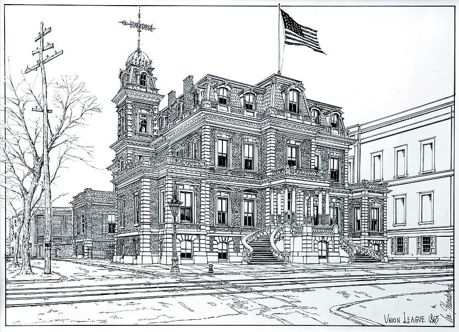 Union League Drawing - The Union League Philadelphia 1867 by Ira Shander