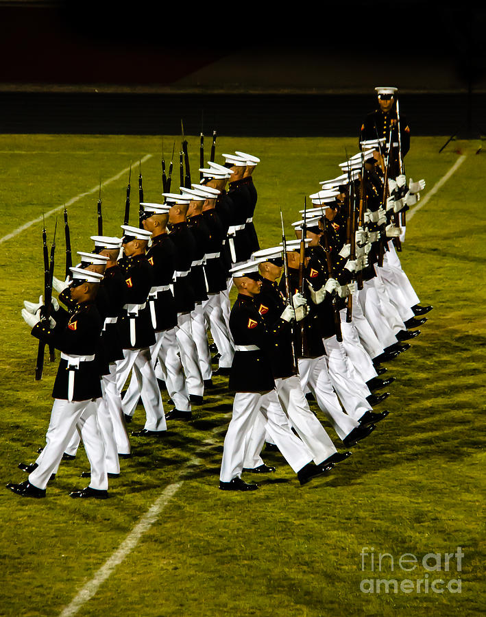 Marine Corps Photograph - The United States Marine Corps Silent Drill Platoon by Robert Bales