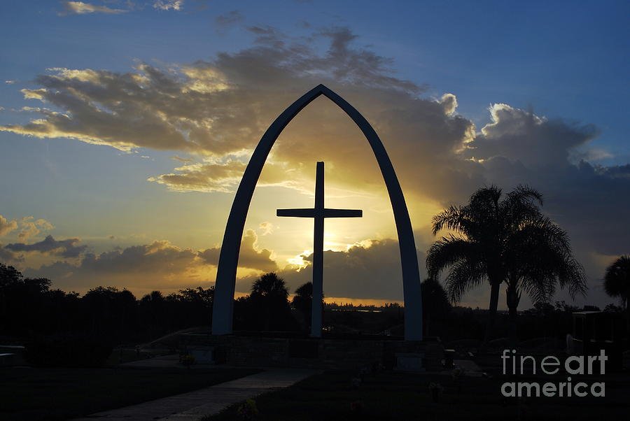 Blue Photograph - The Universal Cross At Sunrise by Bob Sample