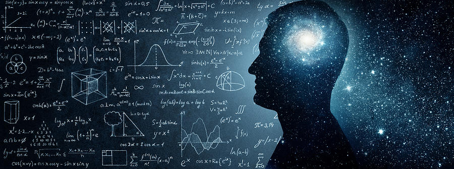 The Universe Within. Silhouette Of A Man Inside The Universe, Physical And Mathematical Formulas.. Photograph by Trifonov_Evgeniy