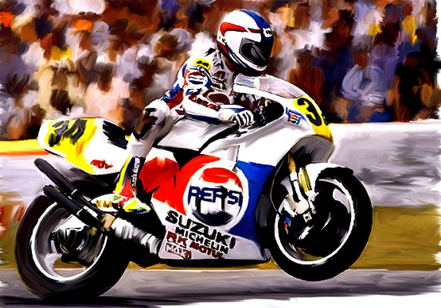 Kevin Schwantz Painting - The Unleashing   Kevin Schwantz by Iconic Images Art Gallery David Pucciarelli