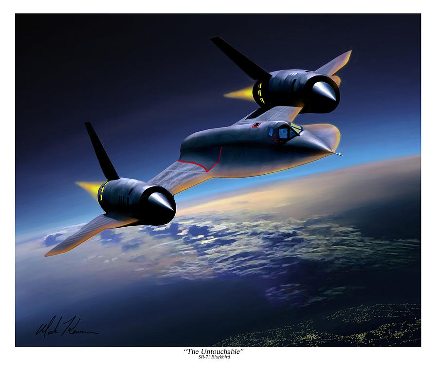 Airplane Painting - The Untouchable  Sr-71 Blackbird by Mark Karvon