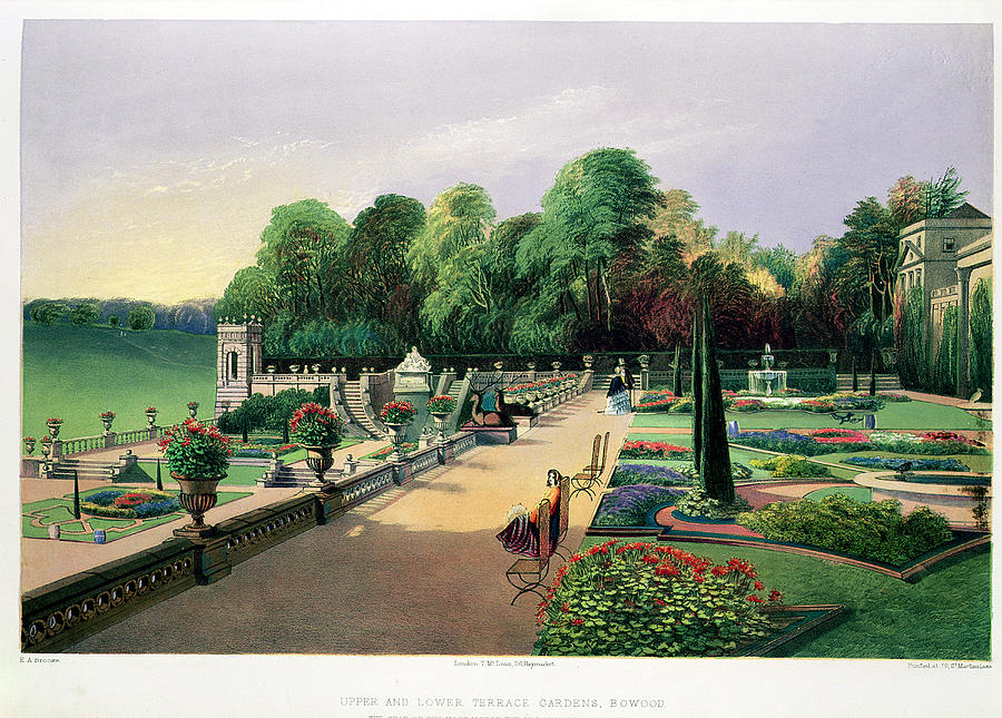 Formal Drawing - The Upper And Lower Terrace Gardens by E. Adveno Brooke